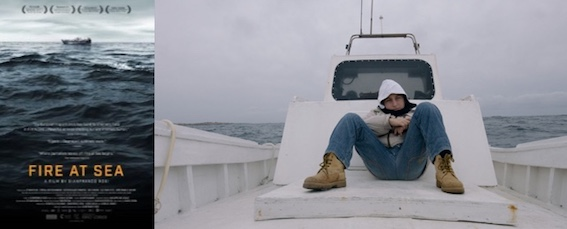 poster and still image from Gianfranco Rosi's Fire at Sea