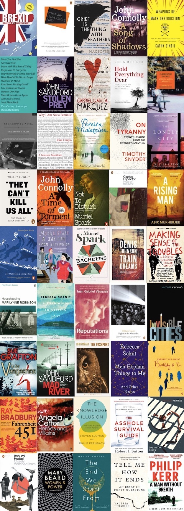 a montage of the covers of the books I read in 2017