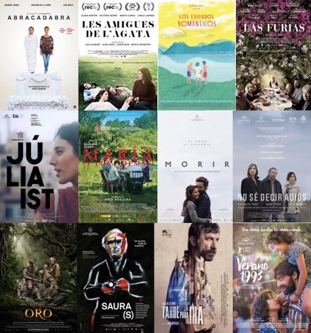 a montage of posters for recent Spanish films